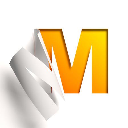 tipos de letras: Carta de la fuente de papel Curl M Foto de archivo