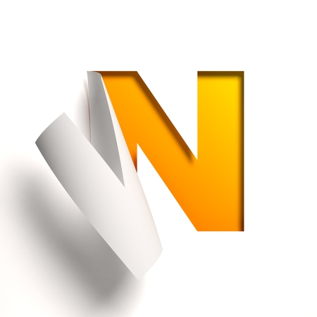 Curl paper font  letter N