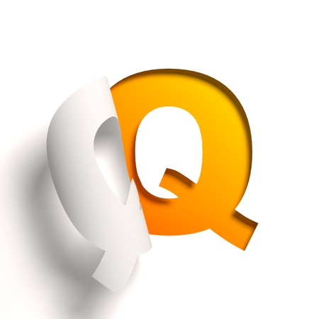 yellow: Curl paper font  letter Q