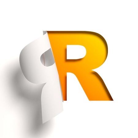 yellow: Curl paper font  letter R Stock Photo