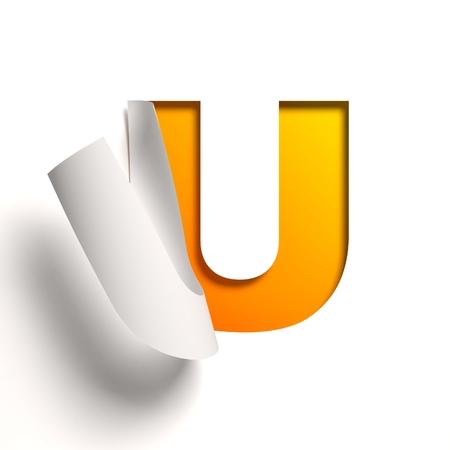 u turn: Curl paper font  letter U