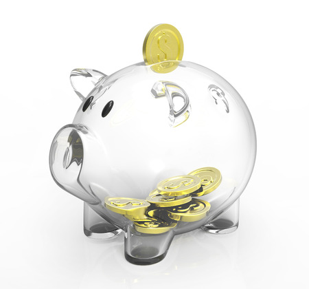transparency: glass piggy bank with golden coins
