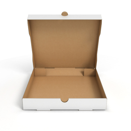 white boxes: open pizza box