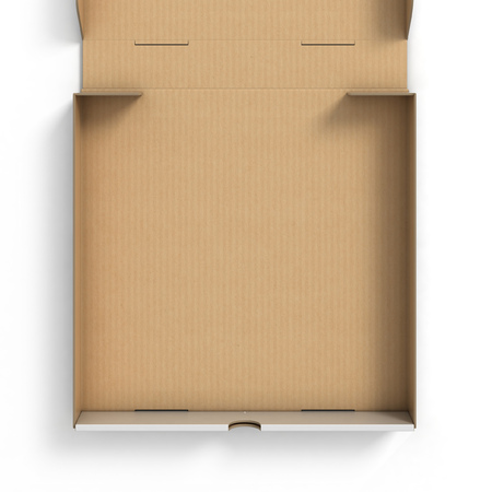cardboard boxes: empty pizza box Stock Photo