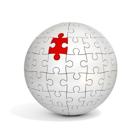 spherical: spherical puzzle with one red piece