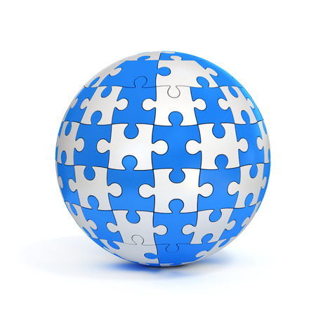 ball isolated: blue and white spherical jigsaw