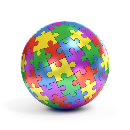 globo terraqueo: rompecabezas esférico colorido Foto de archivo