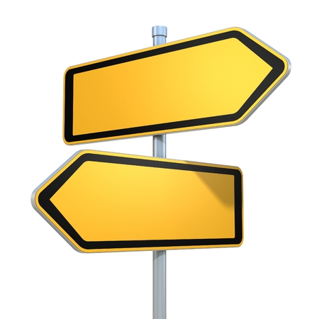 empty street: two blank road signs pointing in the different directions Stock Photo