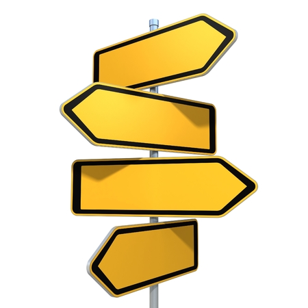 a sign: blank road signs pointing in the different directions