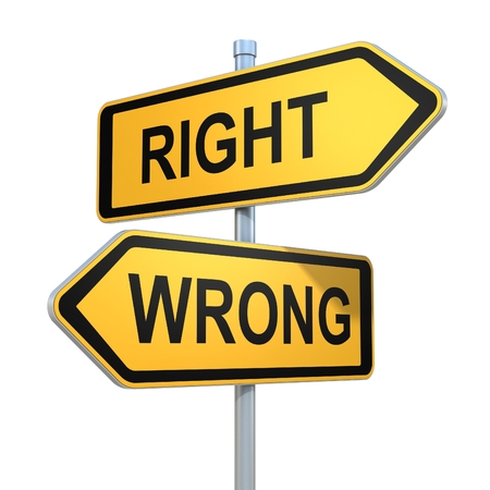 right vs wrong: two road signs - right wrong choice Stock Photo