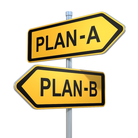 two way: two road signs - plan a - plan b choice