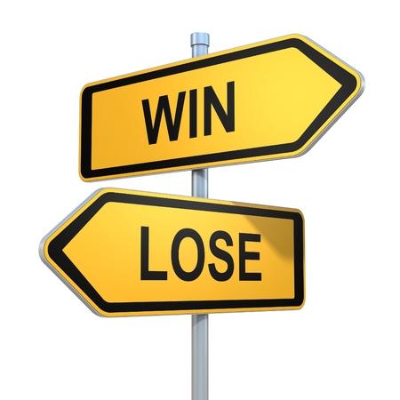 two road signs - win lose choice 版權商用圖片