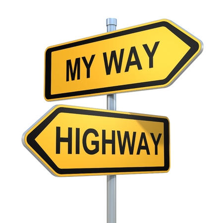 passing the road: two road signs - my way or the highway choice Stock Photo