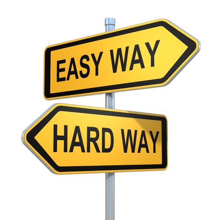 hard way: two road signs - easy and hard way choice Stock Photo