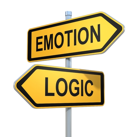 two road signs - emotion or logic choice