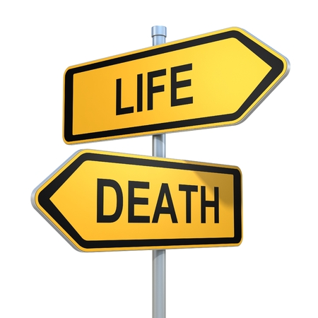 life and death: two road signs - life death choice