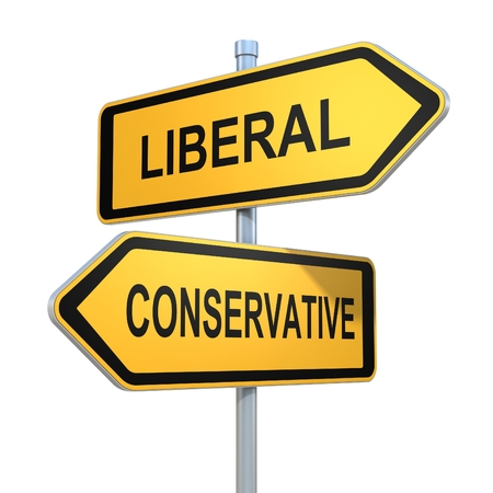 conservative: two road signs - liberal conservative choice