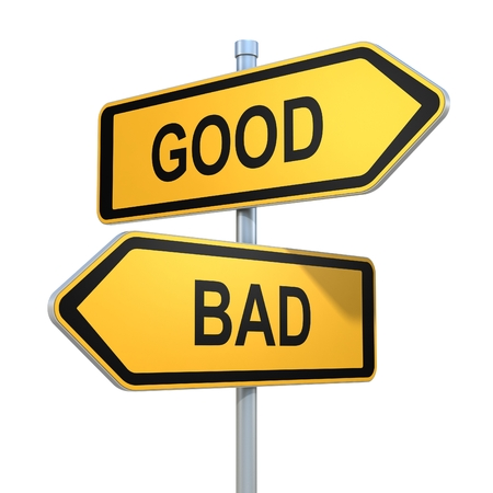 good and bad: two road signs - good or bad choice Stock Photo