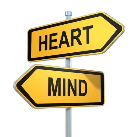 mente: dos señales de tráfico - el corazón o la mente elección