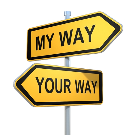 different goals: two road signs - my or your way choice
