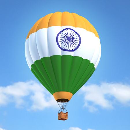 bandera de la india: globo de aire caliente con la bandera de la India Foto de archivo