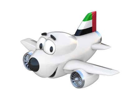 arab flags: Cartoon airplane with a smiling face - United Arab Emirates flag