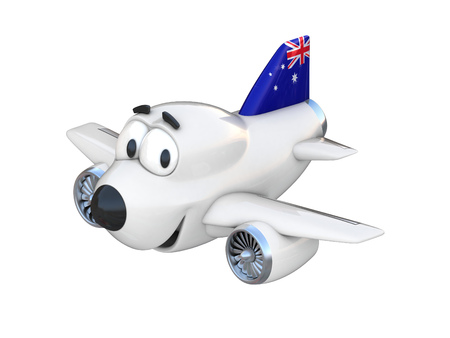 airway: Cartoon airplane with a smiling face - Australian flag Stock Photo
