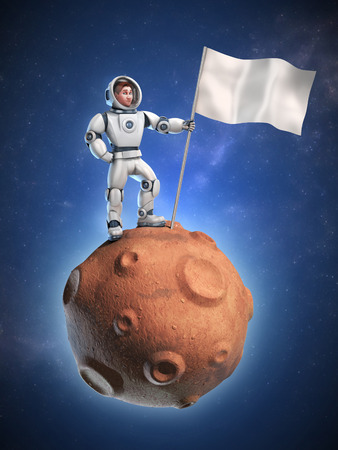 spaceflight: astronaut on meteor holding a flag with copy space Stock Photo