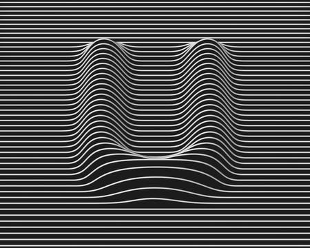 distorted: linear 3d font letter U