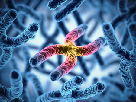 microscopio: cromosomas 3d ilustración Foto de archivo