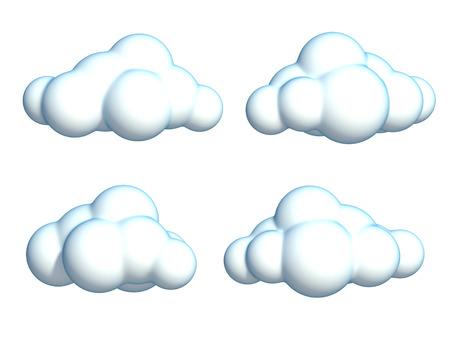 summer cartoon: set of cartoon clouds