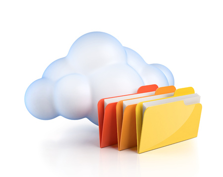 computing: Cloud computing 3d concept - cloud with folders