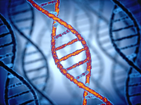 dna chain: DNA structure 3d background Stock Photo