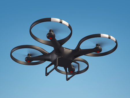 fly: Flying drone in the sky 3d illustration