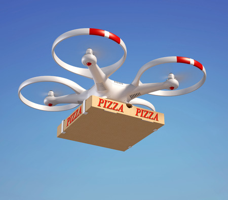 Delivery: Drone delivering pizza box