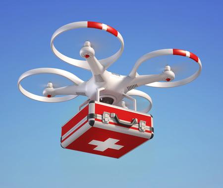 emergencia medica: Drone con botiquín de primeros auxilios Foto de archivo