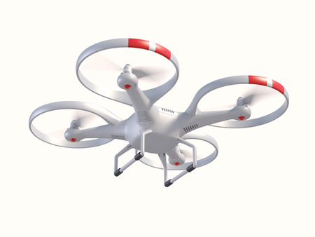 Flying drone in the sky 3d illustration