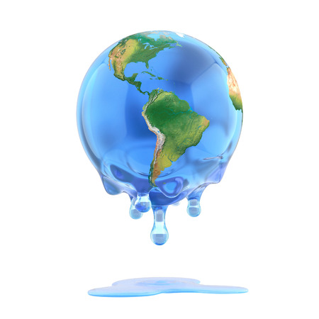 greenhouse effect: global warming 3d concept - melting earth