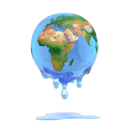melting ice: global warming 3d concept - melting earth