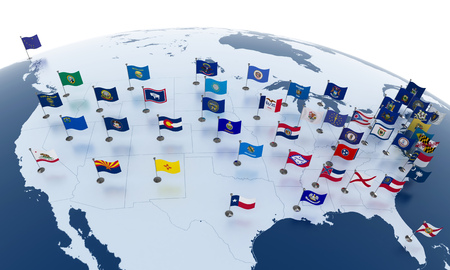 continente americano: Flags of the U.S. states on American continent