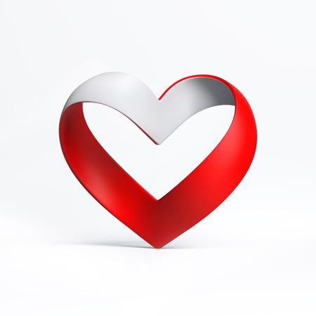 mobius symbol: heart shape ribbon 3d illustration