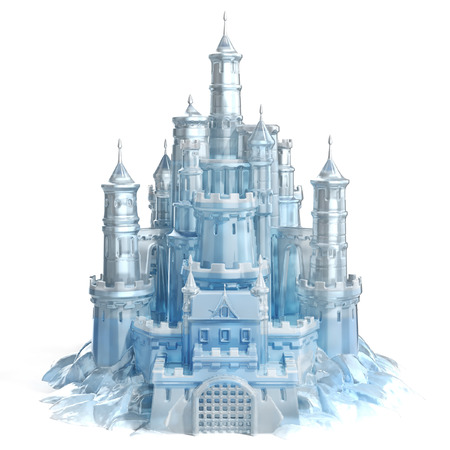 princess castle: ice castle 3d illustration