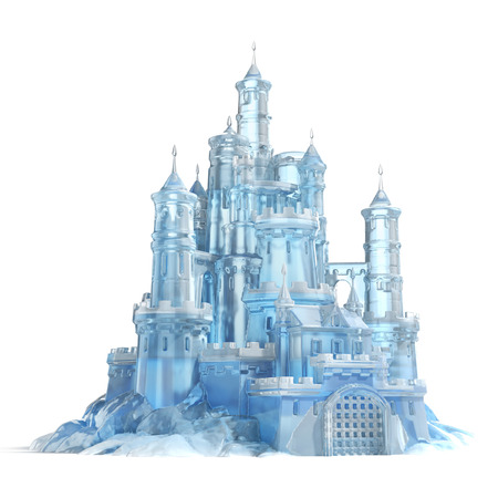 frozen winter: ice castle 3d illustration