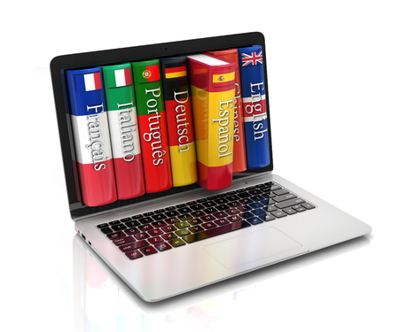 languages: e-learning - learning languages online Stock Photo