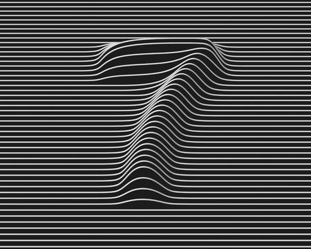 number 7: linear 3d font number 7