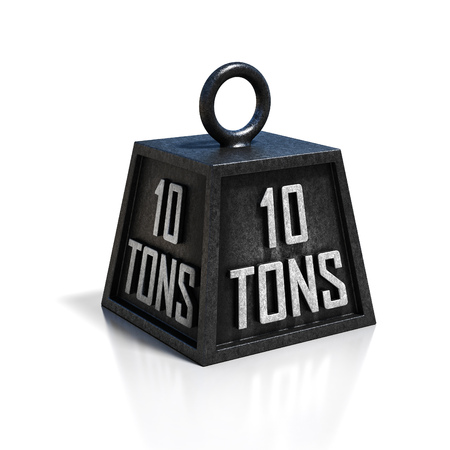tonne: ten 10 ton weight isolated on white background