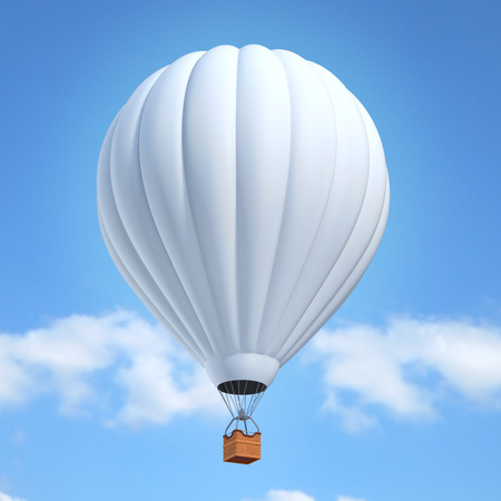 hot air: white air balloon 3d illustration