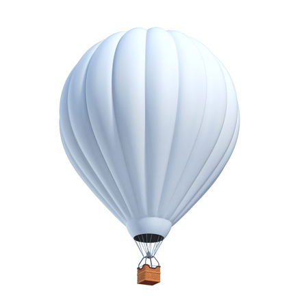 and the air: white air balloon 3d illustration