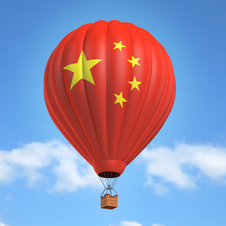 chinese flag: Hot air balloon with Chinese flag