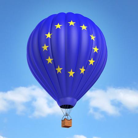 union flag: Hot air balloon with European Union flag
